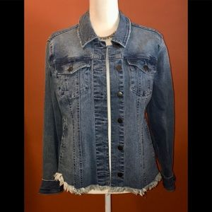 MAX JEANS DISTRESSED-FRAYED JEAN JACKET